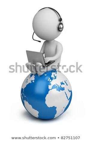 3d small people   manager and earth stock photo © anatolym