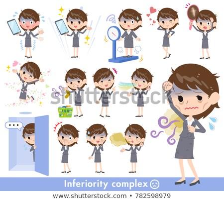 gris · traje · negocios · mujeres · mal · pelo - foto stock © toyotoyo