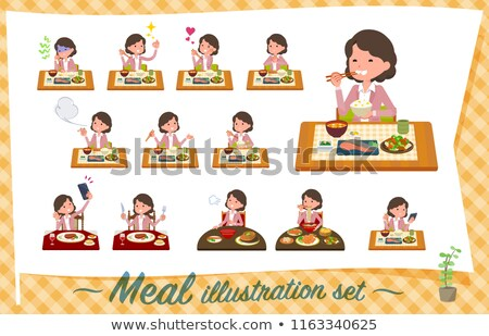 Stock fotó: Rózsaszín · kabát · középső · szett · nők · ételek