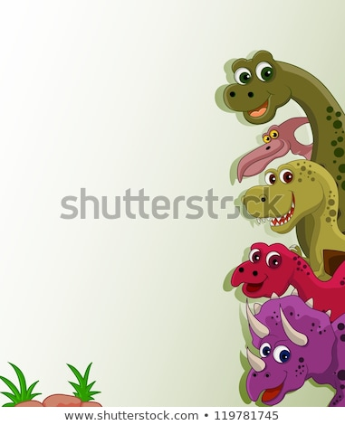 Cartoon dinosauro banner segno bianco nero illustrazione Foto d'archivio © bennerdesign