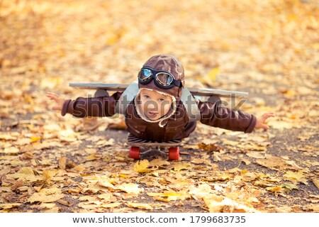 Ritratto piccolo pilota ragazza bambino Foto d'archivio © konradbak
