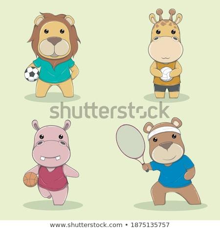 漫画 笑みを浮かべて バレーボール プレーヤー クマ ストックフォト © cthoman