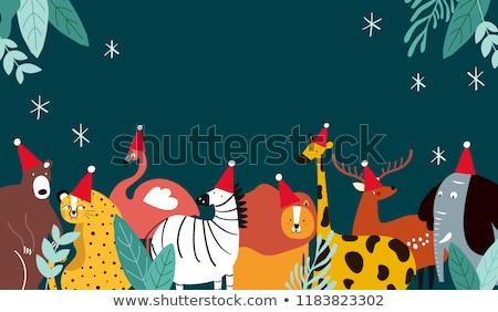 Christmas herten giraffe illustratie licht achtergrond Stockfoto © colematt