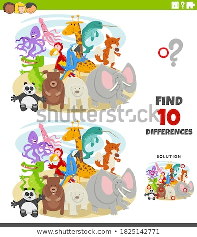 Game template with wild animal characters Stock photo © colematt