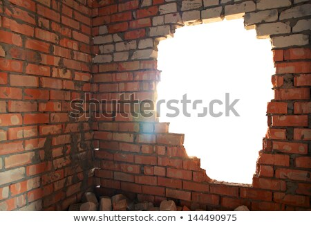 Gebroken Windows gebouw muur achtergrond venster Stockfoto © colematt
