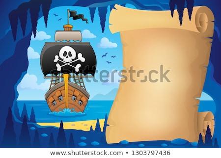 Pergaminho pirata caverna imagem papel mar Foto stock © clairev
