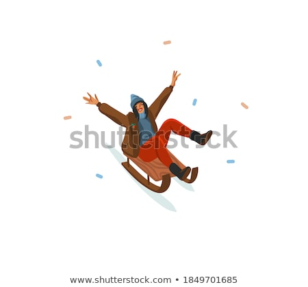 Happy Holidays Card with Family and Sleigh Vector Stock photo © robuart