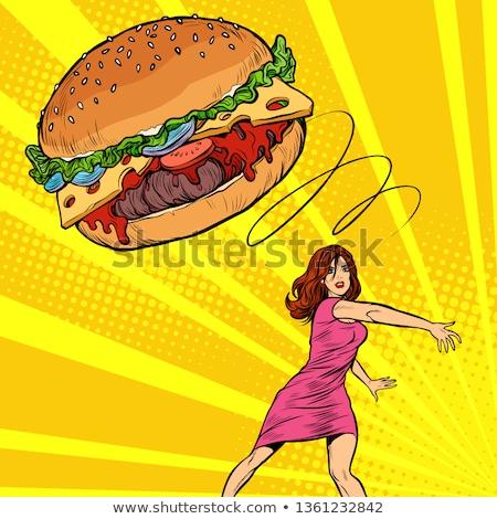 Nő hamburger gyorsételek diéta egészséges étkezés pop art Stock fotó © studiostoks