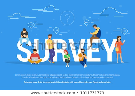 Online survey concept vector illustration of people fulfilling checklist. Flat vector illustration Stock photo © makyzz