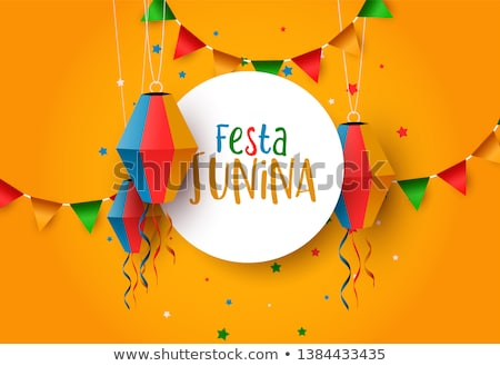 Festa Junina greeting card of paper balloons Stock photo © cienpies
