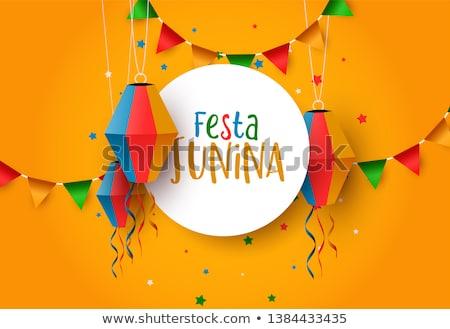 festa junina greeting card of paper balloons stock photo © cienpies