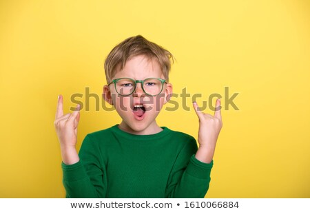 Stock photo: Green clothing glasses boy_success