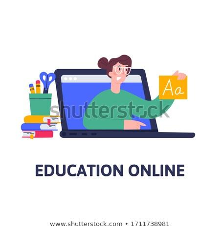 Languages education flat collage Stock photo © netkov1