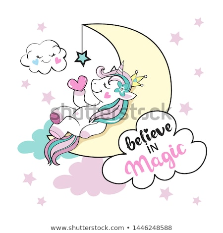 A unicorn sleeping on sky Stock photo © bluering