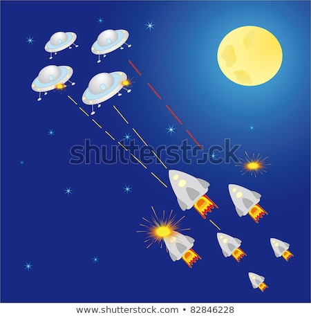 Rocket with Laser Shooting to Ufo, Space Vector Stock photo © robuart