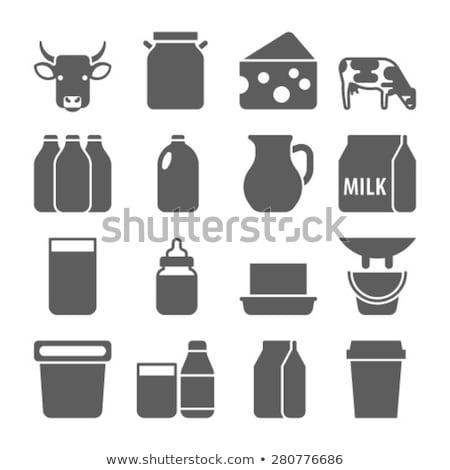 Blauw melk icon geïsoleerd witte vector Stockfoto © cidepix