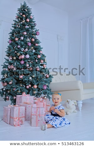 portrait of happy mother and adorable boy celebrate christmas new years holidays toddler with mom stock photo © galitskaya