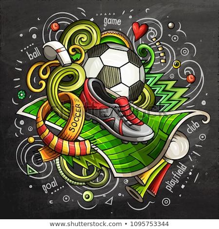 Soccer cartoon doodle illustration. Chalkboard design Stock photo © balabolka