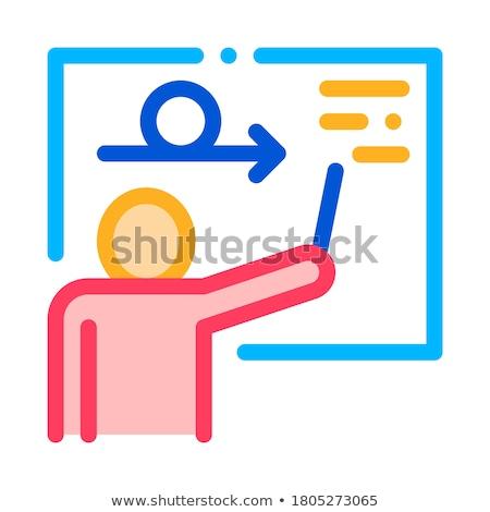 Man Silhouette Near Blackboard Agile Sign Vector Stock photo © pikepicture