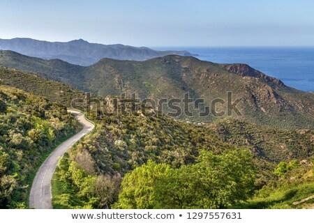 Hegy terjedelem Spanyolország panorámakép kilátás kolostor Stock fotó © borisb17