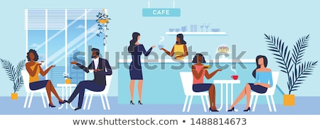 Couple Drinking Coffee by Counter and Barista Stock photo © robuart