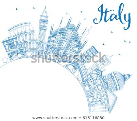 Italy Skyline with Landmarks and Copy Space. Stock photo © ShustrikS