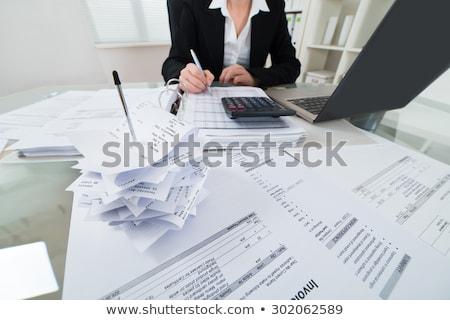 Belasting boekhouder schrijven business factuur werk Stockfoto © AndreyPopov