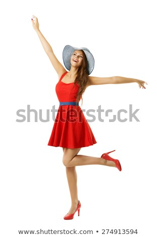 Elated laughing happy young woman looking up Stock photo © Giulio_Fornasar