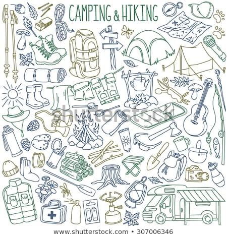 Kézzel rajzolt kempingezés kirándulás hegymászás ikon szett fekete Stock fotó © ShustrikS