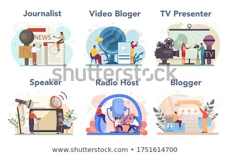 Rajz tömeg média betűk csoport férfiak Stock fotó © Voysla