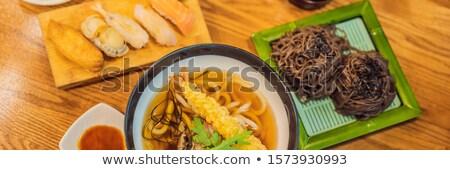 Sushi and Korean buckwheat noodles as well as soup - Korean food BANNER, LONG FORMAT Stock photo © galitskaya