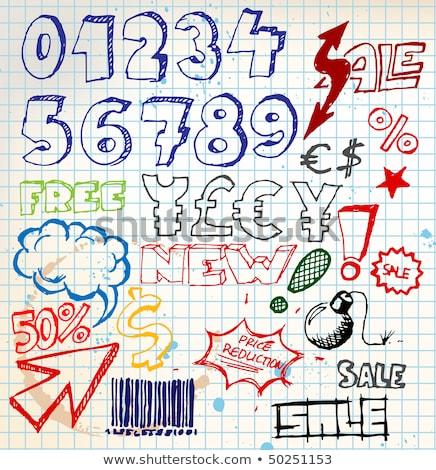 sayılar · kırmızı · vektör · dizayn · ayarlamak · Internet - stok fotoğraf © orson