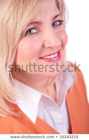 középkorú · női · arc · közelkép · nő · kéz · arc - stock fotó © Paha_L