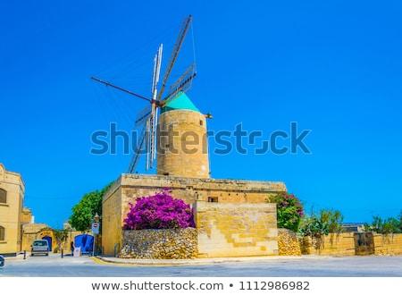 Wiatrak wyspa Malta starych podróży wiatr Zdjęcia stock © travelphotography