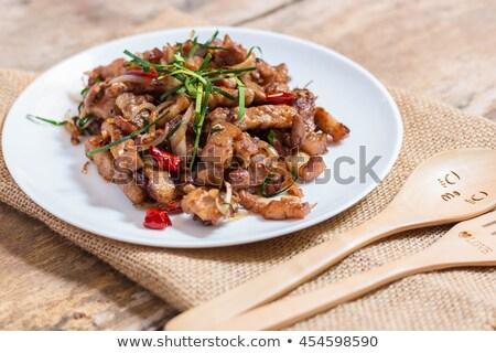 Foto stock: Carne · de · porco · alho · molho · comida