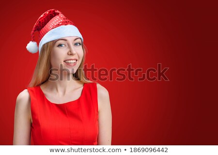 portre · güzel · genç · Noel · kadın · poz - stok fotoğraf © HASLOO