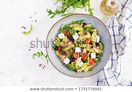 çanak Yunan makarna salata domates Stok fotoğraf © ca2hill