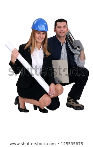 An architect and her tiler. Stock photo © photography33
