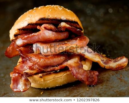 Salgado bacon camadas carne branco jantar Foto stock © RuslanOmega