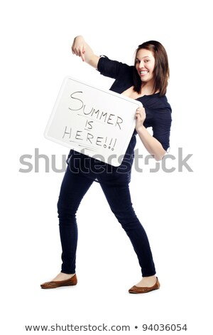 Full length portrait of stylish girl presenting banner ad Stock photo © stockyimages