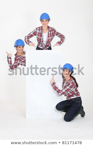 triplet girls wearing safety hat Stock photo © photography33