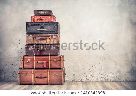 Vintage valise isolé blanche fond rétro Photo stock © HectorSnchz