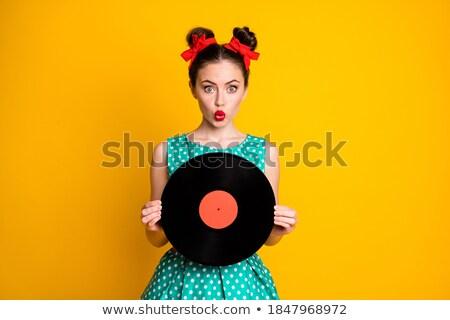 güzel · kadın · gramofon · güzel · bir · kadın · beyaz · kız · konuşmacı - stok fotoğraf © acidgrey