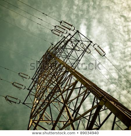 Részlet elektromosság feketefehér égbolt építkezés fém Stock fotó © Nneirda