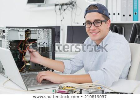 Portré számítógép mérnök dolgozik processzor fiatal Stock fotó © wavebreak_media