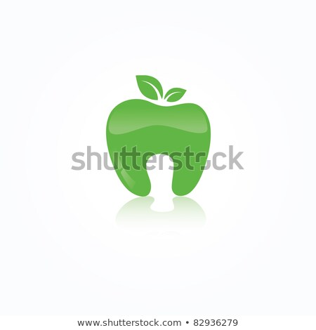 Stock foto: Ecological Symbol Of Human Tooth As A Green Apple With Leaf