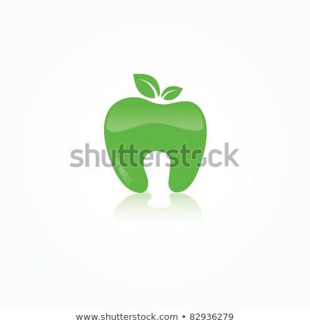 écologique symbole humaine dents vert pomme Photo stock © mcherevan