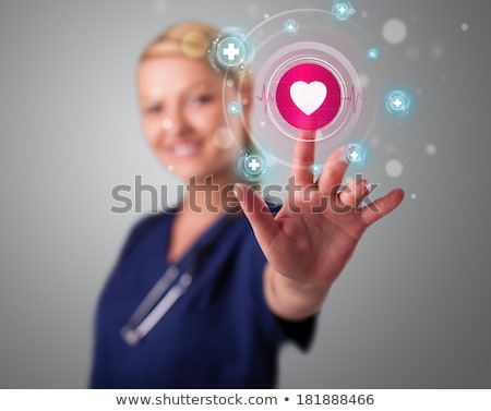 Foto stock: Jovem · enfermeira · moderno · médico · tipo