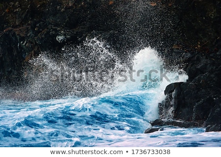 Waves breaking on coastal rocks. Stock photo © borysshevchuk
