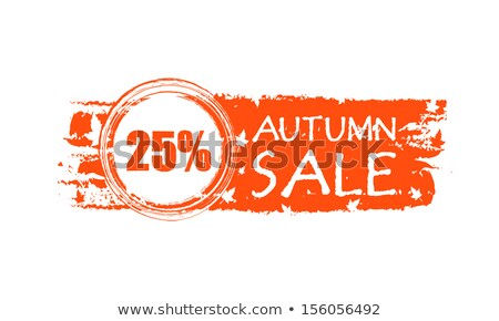 autumn sale drawn banner with 25 percentages and fall leaves Stock photo © marinini